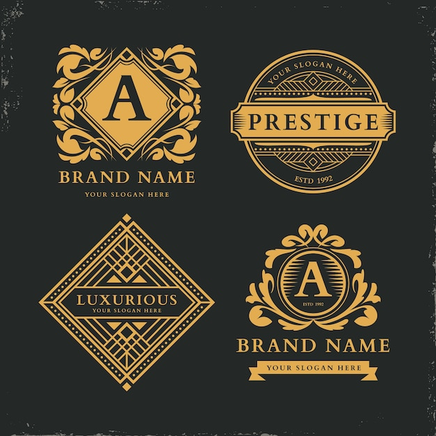 Luxury retro logo collection template Free Vector