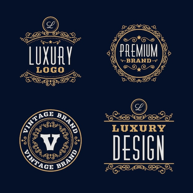 Luxury retro logo template collection Free Vector