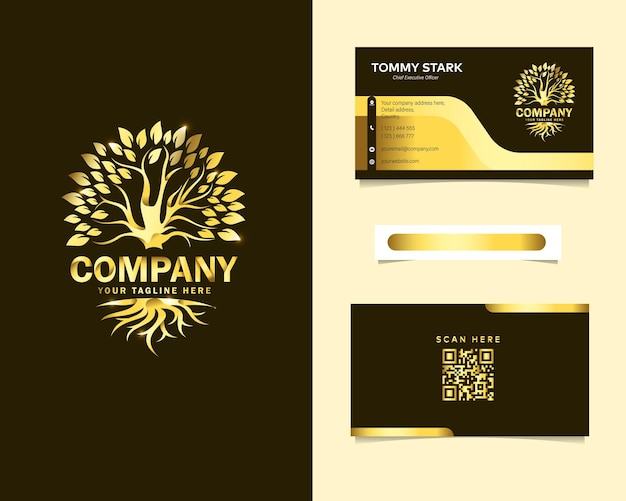 Роскошный корень и логотип дерева с шаблоном канцелярской визитки Premium векторы