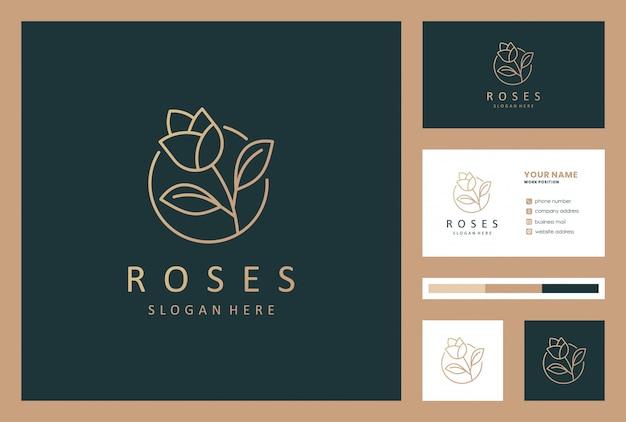 名刺と豪華なバラの花のロゴデザイン Premiumベクター