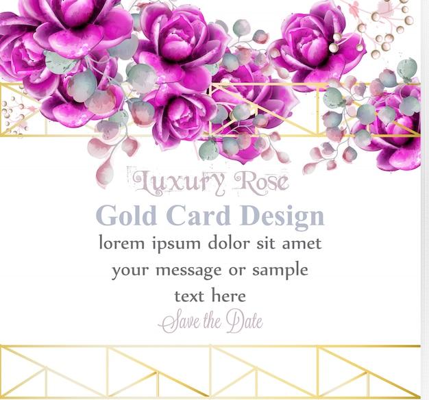 Luxury rose flowers watercolor card Premium Vector