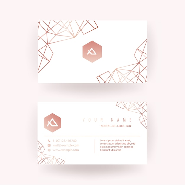 Luxury Rose Gold Business Card Design With Geometric Style Vector