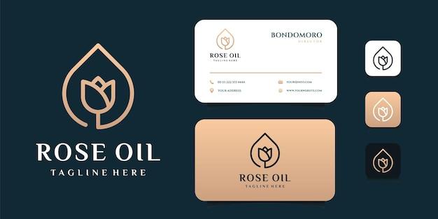 豪華なバラ油のロゴと名刺のテンプレート。ロゴは、アイコン、ブランド、アイデンティティ、フェミニン、クリエイティブ、ゴールド、およびビジネス会社に使用できます Premiumベクター