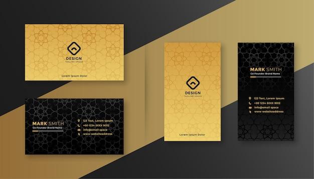 豪華なロイヤルブラックとゴールドのビジネスカードのデザインテンプレート 無料ベクター