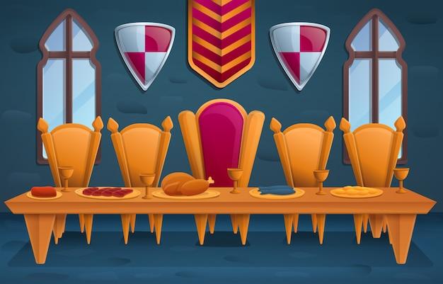 Роскошный королевский праздник в тронном зале, иллюстрация Premium векторы