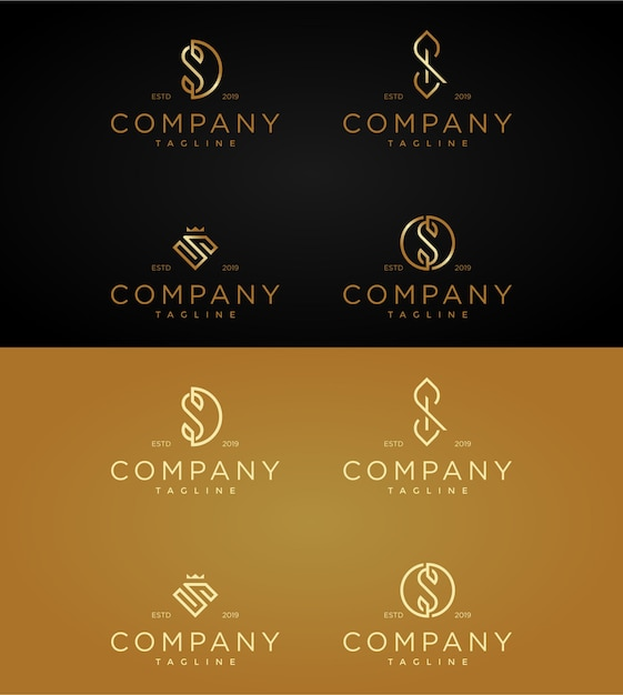 Установите шаблон luxury логотипы буквой s. Premium векторы