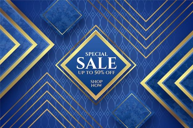 Роскошный фон продажи с золотыми элементами Premium векторы