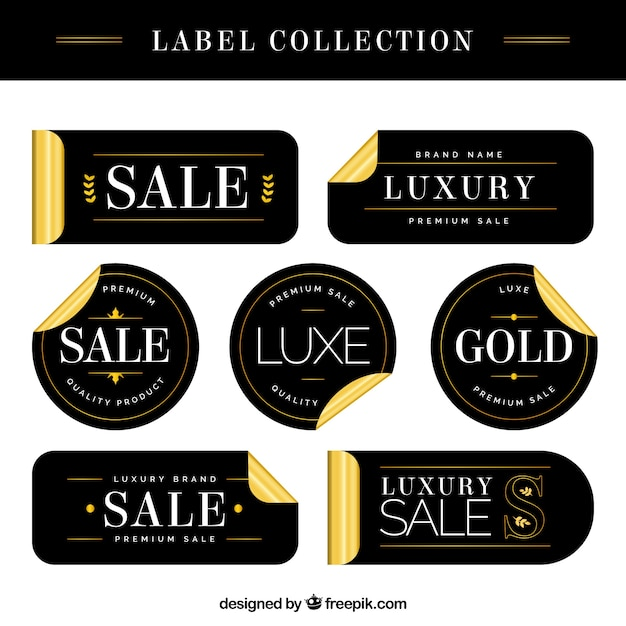 Luxury Sale Labels With Golden Details Vector | Free Download