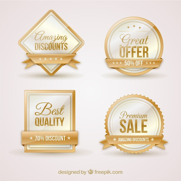 Beautiful Luxury Sale Stickers Pack Vector | Free Download