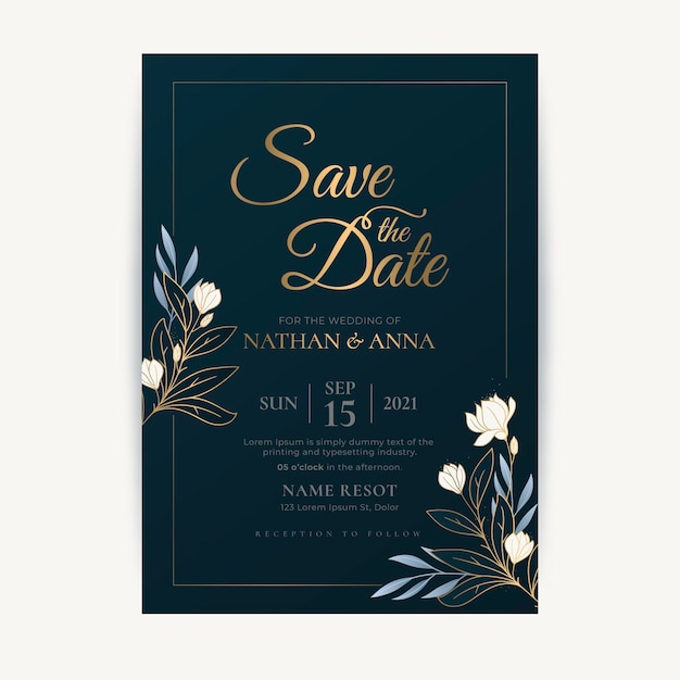 Luxury save the date invitation template Free Vector
