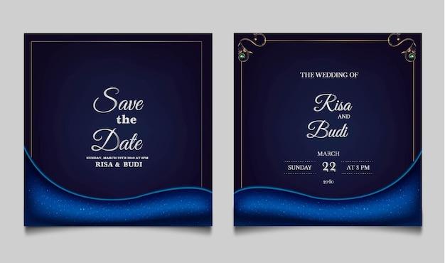 Lusso salva la data set di carte invito a nozze Vettore gratuito