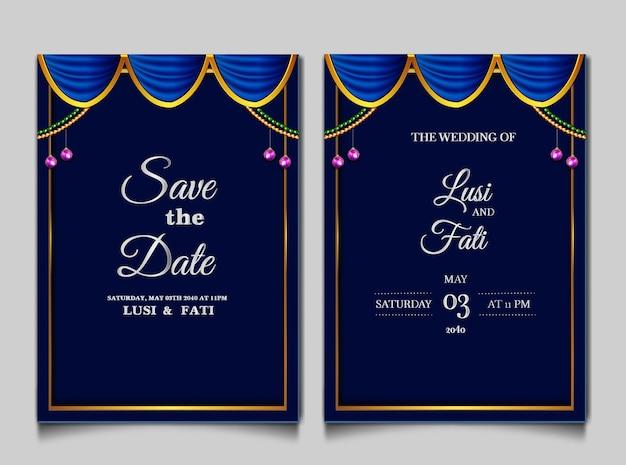 Lusso salva il set di carte di invito a nozze data Vettore gratuito