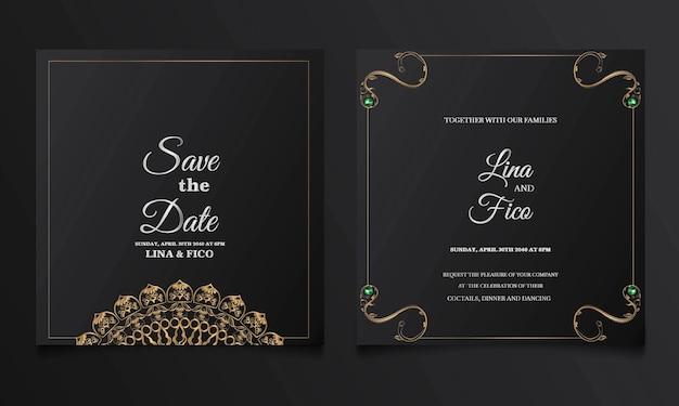 Luxury save the date wedding invitation card set Premium Vector