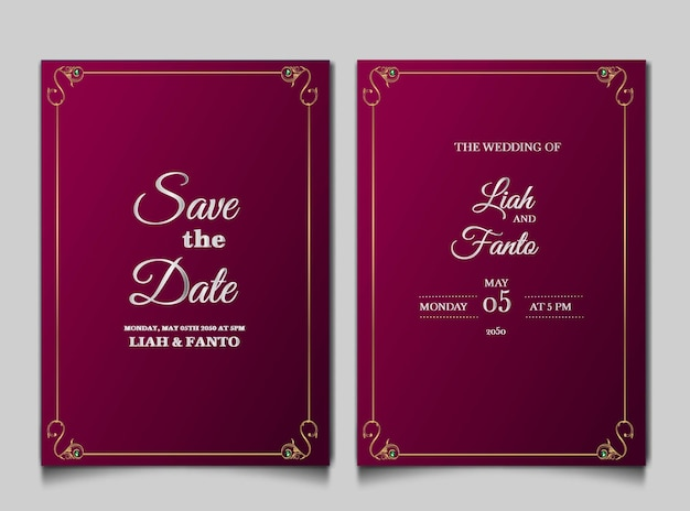 Luxury save the date wedding invitation card set Premium Vector