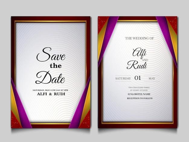 Роскошный набор свадебных пригласительных билетов на дату Бесплатные векторы