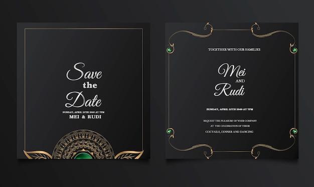 Роскошный набор свадебных пригласительных билетов Бесплатные векторы