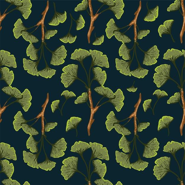 イチョウの葉の豪華なシームレスパターン。ファブリック、テキスタイル Premiumベクター