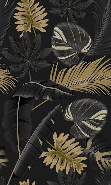Роскошные бесшовные тропические листья Premium векторы