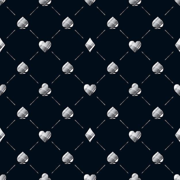 Роскошный бесшовный узор с яркими глянцевыми серебряными карточками подходит для значков, таких как сердца, алмазы, пики на синих звуковых сигналах Premium векторы