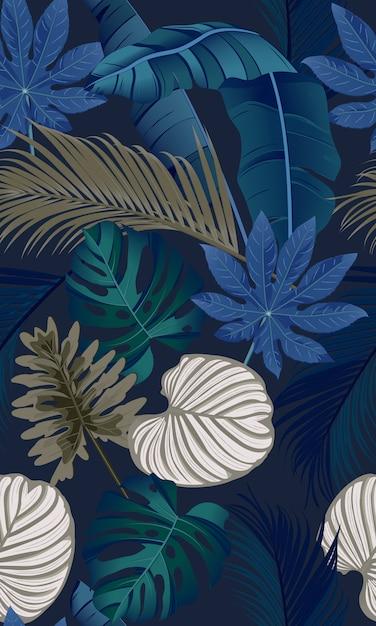 Роскошный бесшовный узор с тропическими листьями Premium векторы