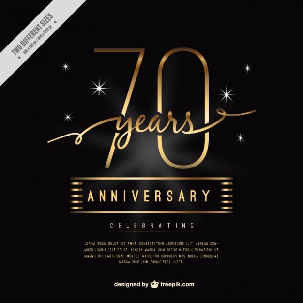 Luxury seventy anniversary card vector free download