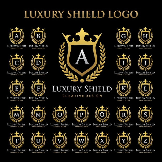 Luxury shield logo in alphabetic set Premium Vector