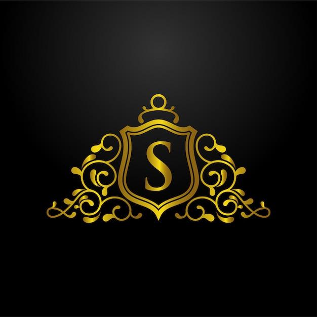 Luxury shield logo Premium Vector