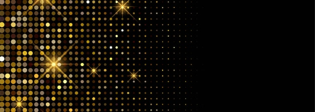Luxury shiny golden glitters banner Free Vector