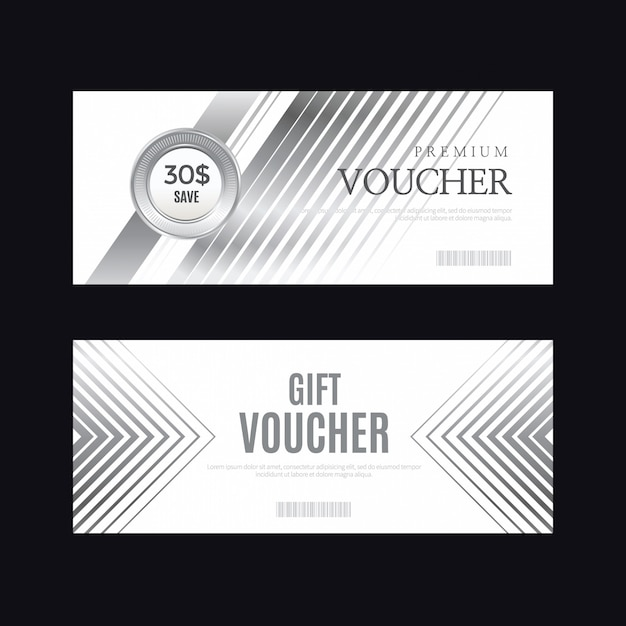 Luxury silver badge and labels, voucher card Premium Vector
