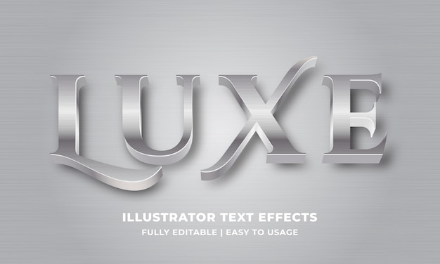 Luxury silver metallic 3d text effect Premium Vector