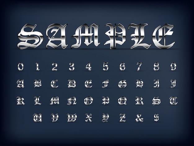 高級シルバー古い英語のアルファベット文字セットと黒い色の数字 Premiumベクター