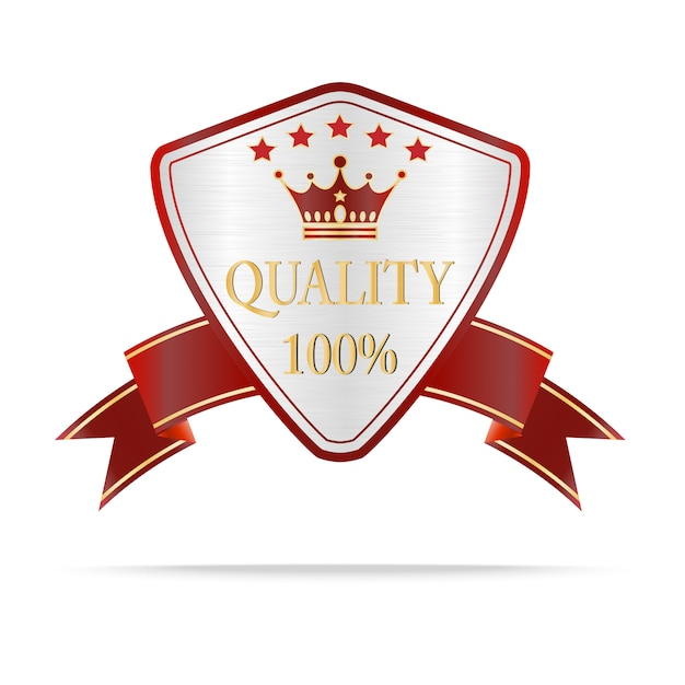 Luxury silver and red quality shields label Premium Vector