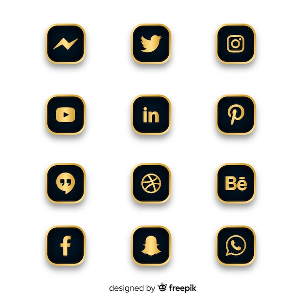 Luxury social media logo collection Free Vector