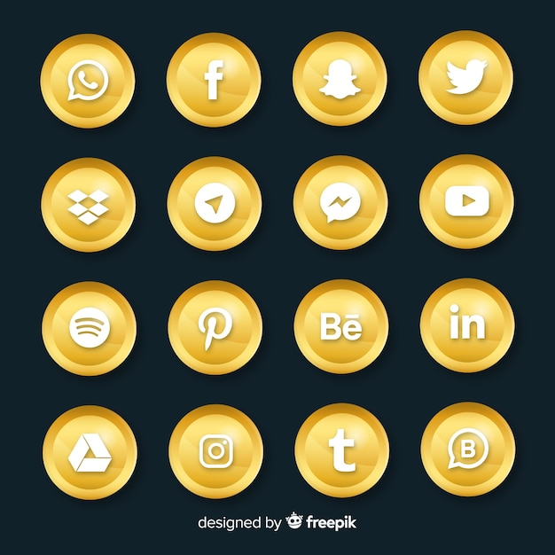 Luxury social media logo collection Free Vector