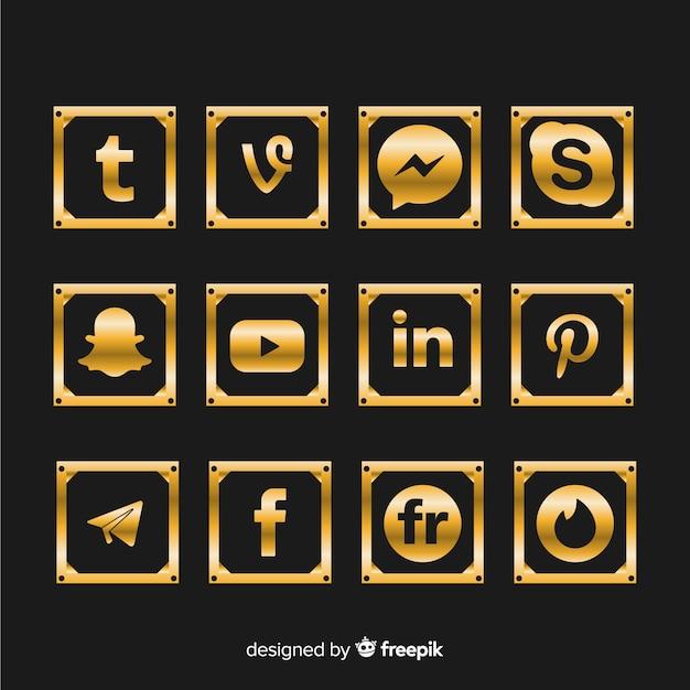 Collezione di logo di lusso sui social media Vettore gratuito