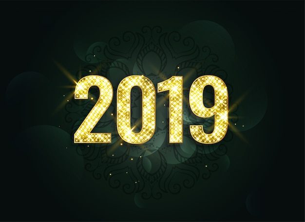 Luxury style 2019 new year sparkles background Free Vector