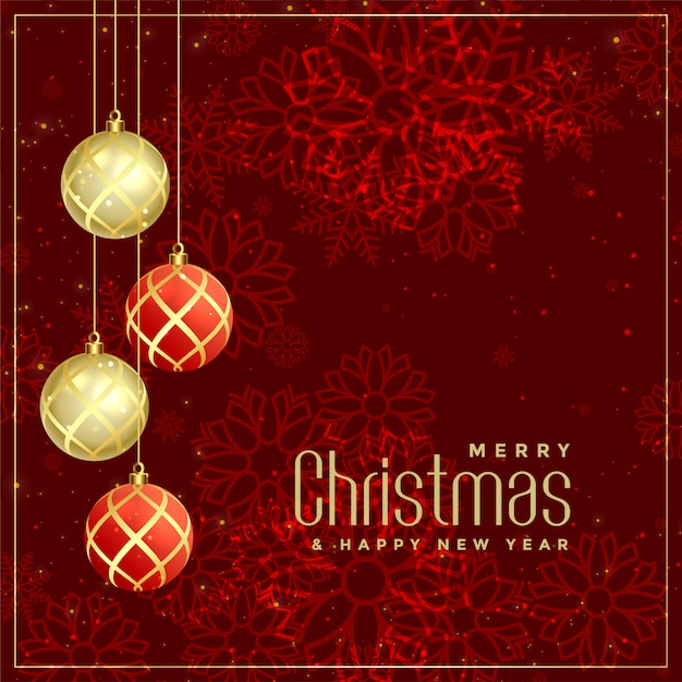 Luxury style merry christmas greeting design Free Vector