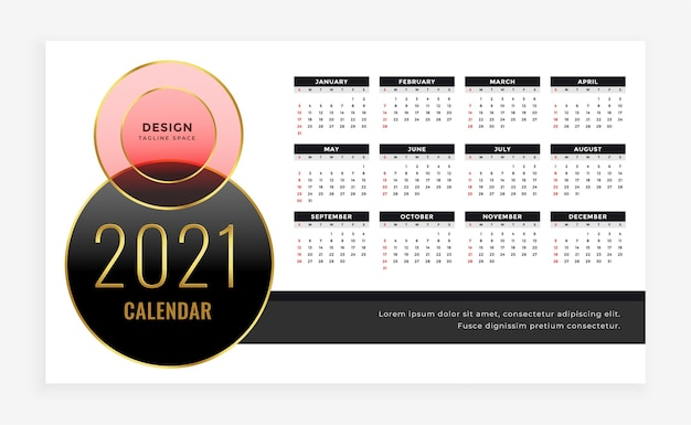 Luxury style  new year calendar  template Free Vector