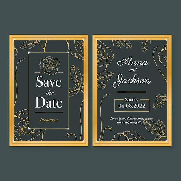 Шаблон свадебного приглашения в роскошном стиле Бесплатные векторы