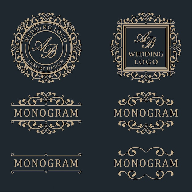 Luxury template logo design Premium Vector