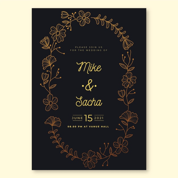 Luxury theme for wedding invitation template Free Vector
