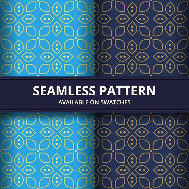 クラシックなスタイルの高級伝統的なインドネシアのバティックのシームレスなパターン背景の壁紙。青色に設定 Premiumベクター