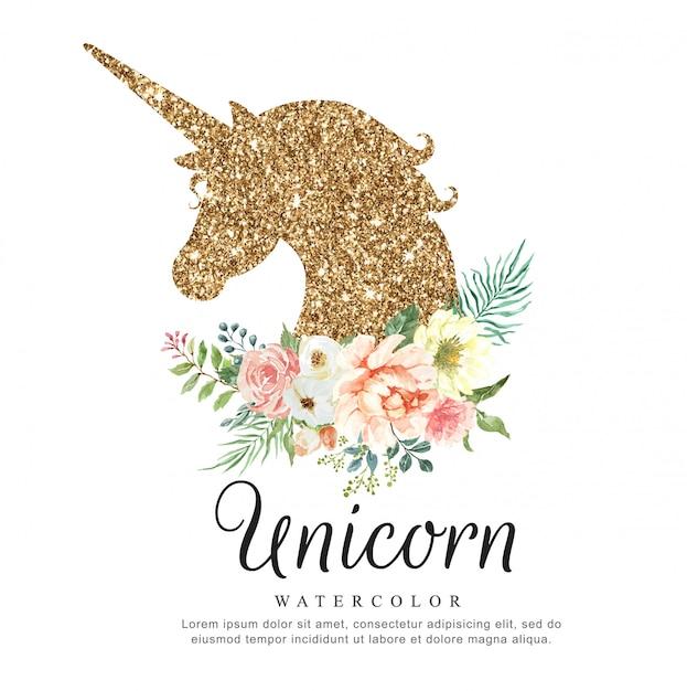 Luxury unicorn watercolor with flower bouquet. Premium Vector