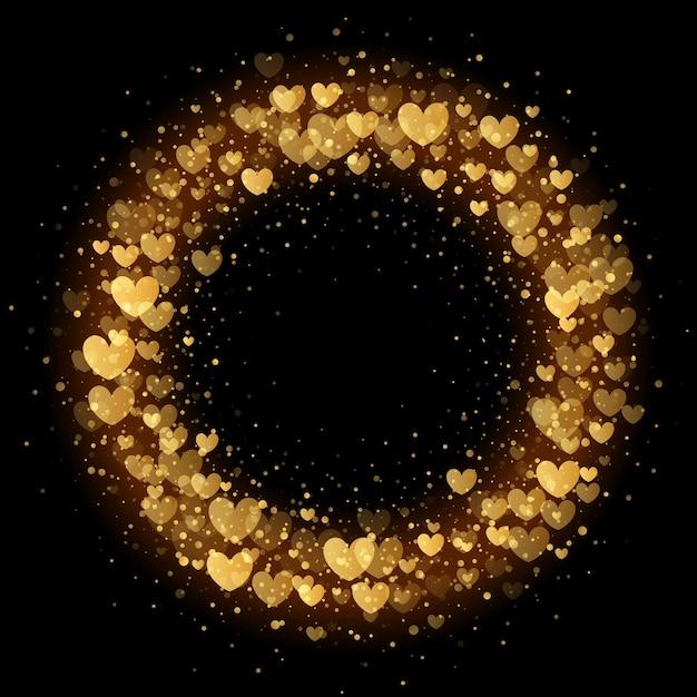 프리미엄 블랙 카드 배경 럭셔리 발렌타인 화환 골든 하트 반짝이 패턴 프리미엄 벡터