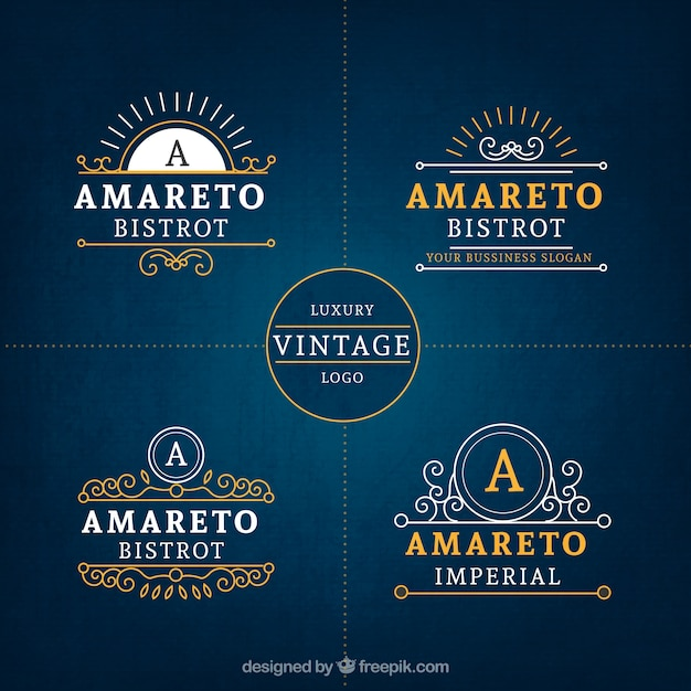 Luxury vintage business logo collection Free Vector