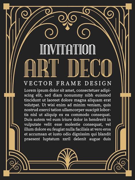 Luxury vintage frame art deco style. Premium Vector