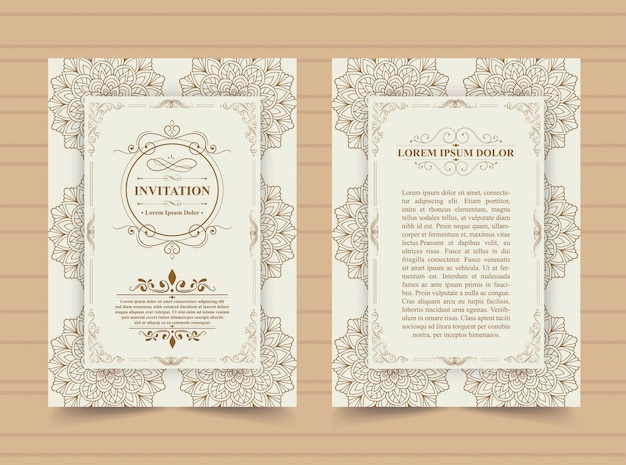 Luxury vintage golden invitation card template. Premium Vector