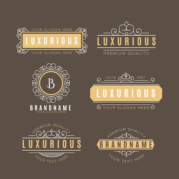 Luxury vintage logo collection Free Vector