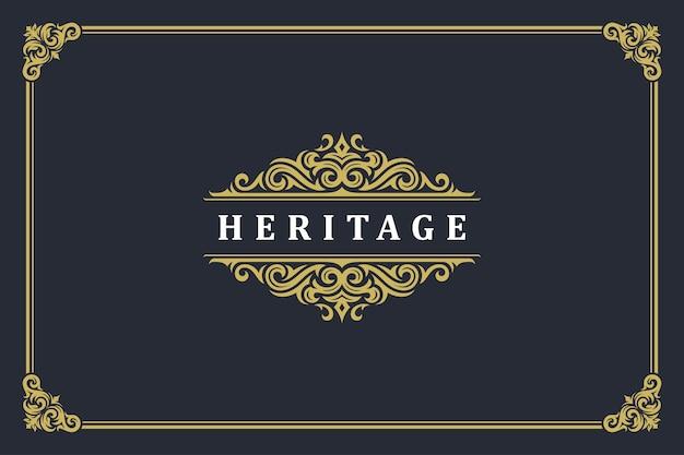 Роскошный винтажный орнамент с логотипом и монограммой Premium векторы