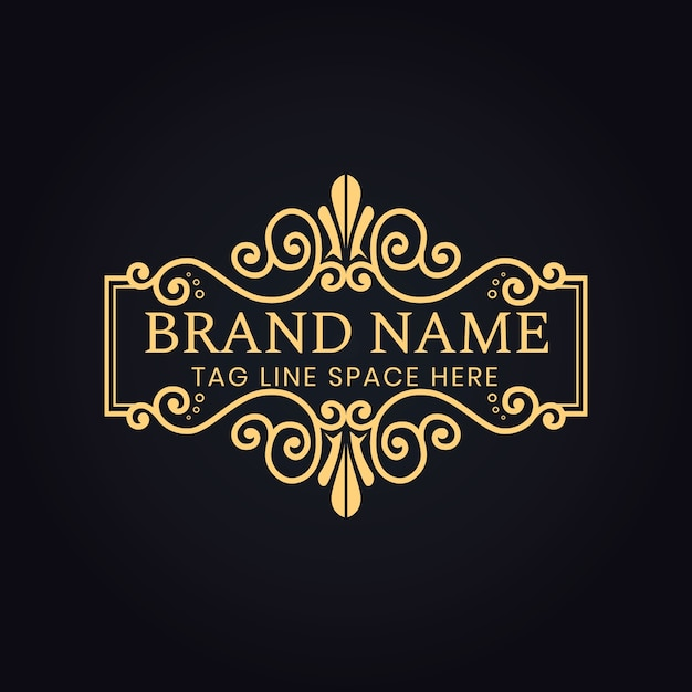 Luxury vip logo for your brand with floral decoration Premium Vector